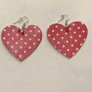 🆕Red/White Polka Dot Heart Faux Leather Earrings